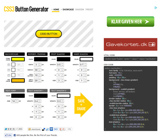 CSS3 Button Generator